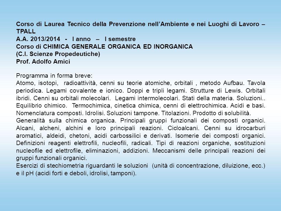 Corso di Laurea Tecnico della Prevenzione nell'Ambiente e nei Luoghi di Lavoro – TPALL