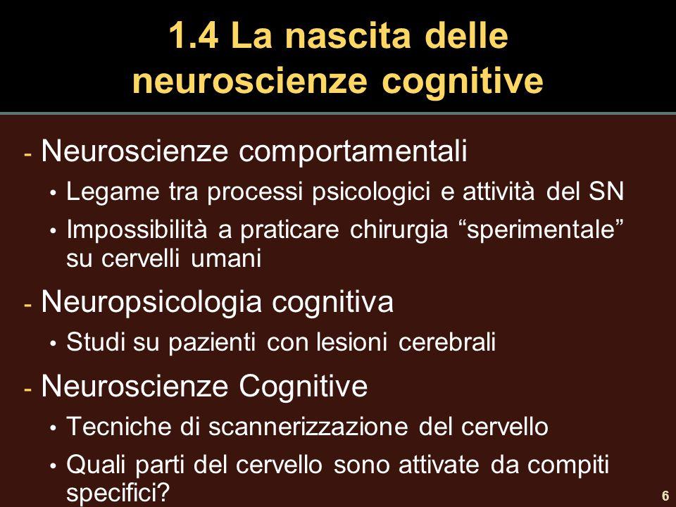 1.4 La nascita delle neuroscienze cognitive