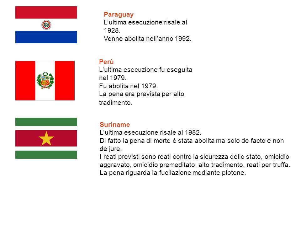 Paraguay L'ultima esecuzione risale al 1928. Venne abolita nell'anno 1992. Perù. L'ultima esecuzione fu eseguita nel 1979.