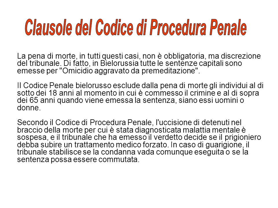 Clausole del Codice di Procedura Penale