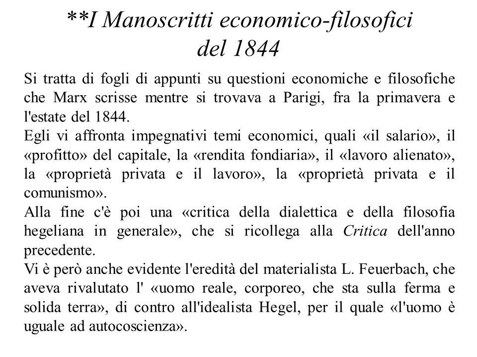 **I Manoscritti economico-filosofici del 1844