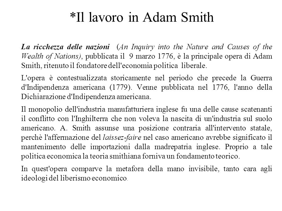 *Il lavoro in Adam Smith