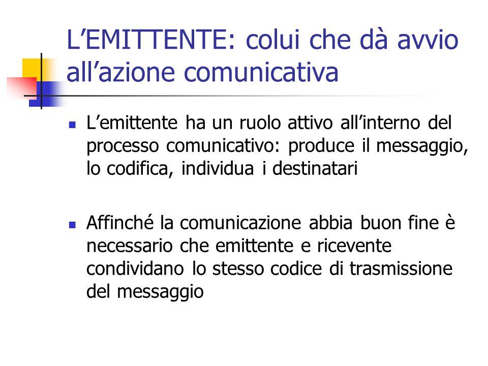 L'EMITTENTE: colui che dà avvio all'azione comunicativa