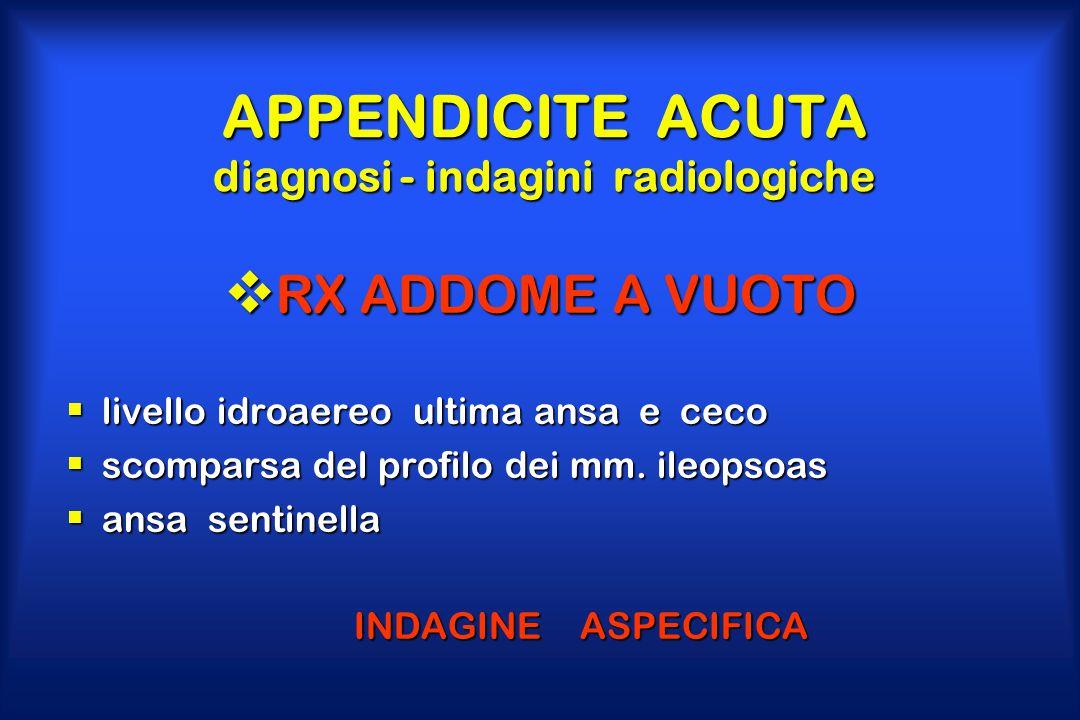 APPENDICITE ACUTA diagnosi - indagini radiologiche