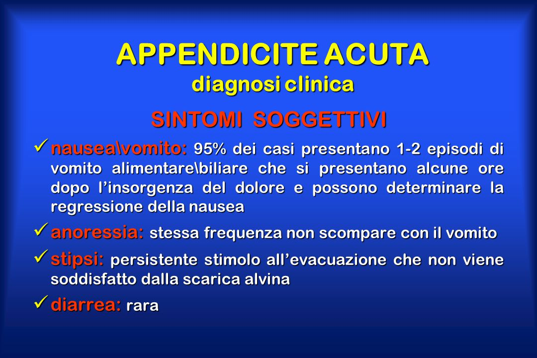 APPENDICITE ACUTA diagnosi clinica