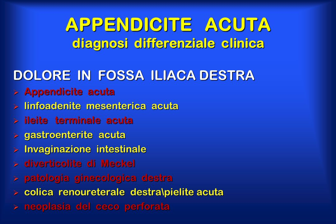 APPENDICITE ACUTA diagnosi differenziale clinica