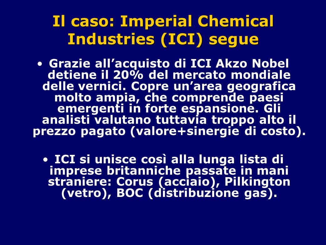 Il caso: Imperial Chemical Industries (ICI) segue