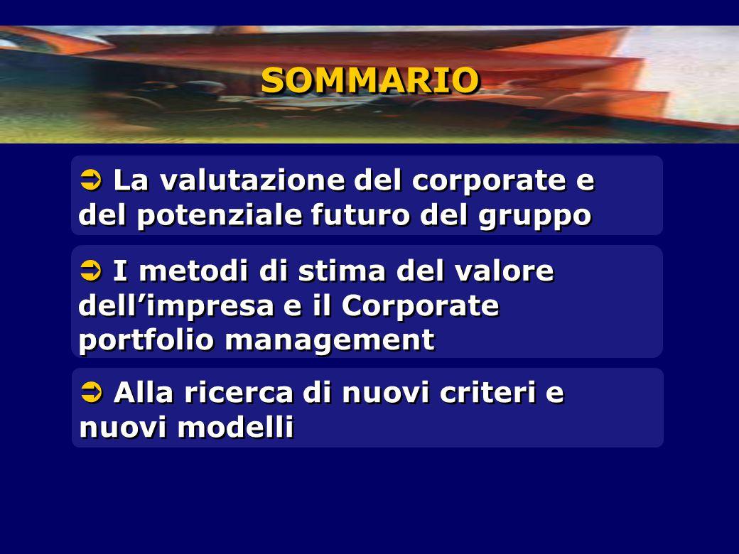 SOMMARIO  La valutazione del corporate e del potenziale futuro del gruppo.
