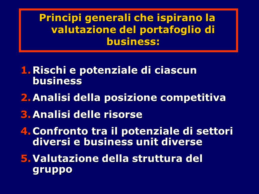 Principi generali che ispirano la valutazione del portafoglio di business:
