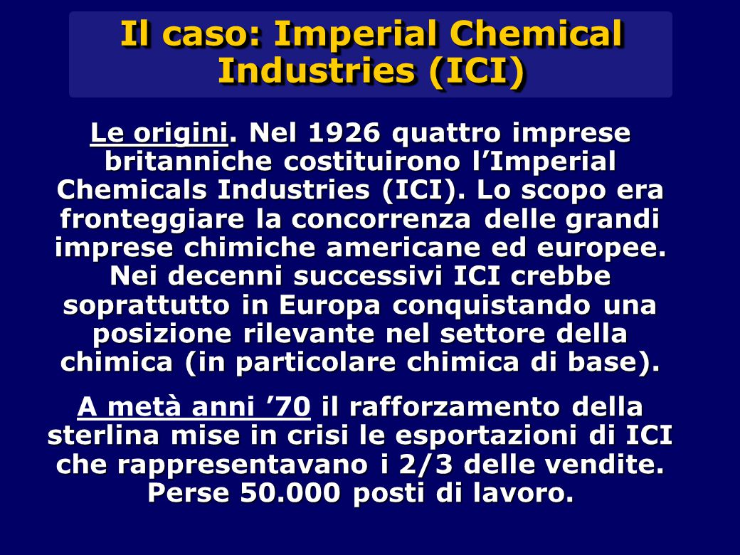 Il caso: Imperial Chemical Industries (ICI)