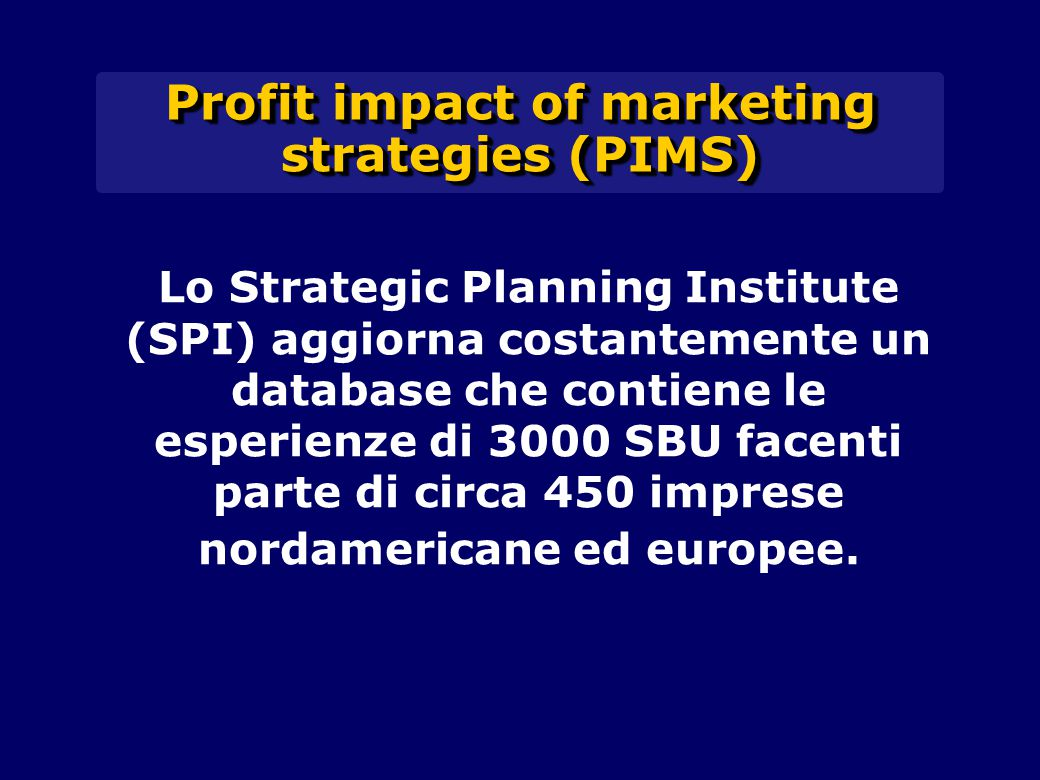 Profit impact of marketing strategies (PIMS)