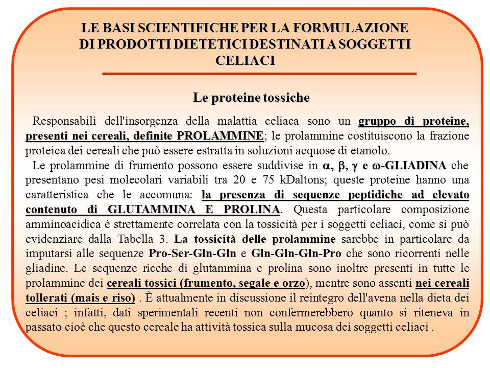 LE BASI SCIENTIFICHE PER LA FORMULAZIONE DI PRODOTTI DIETETICI DESTINATI A SOGGETTI CELIACI