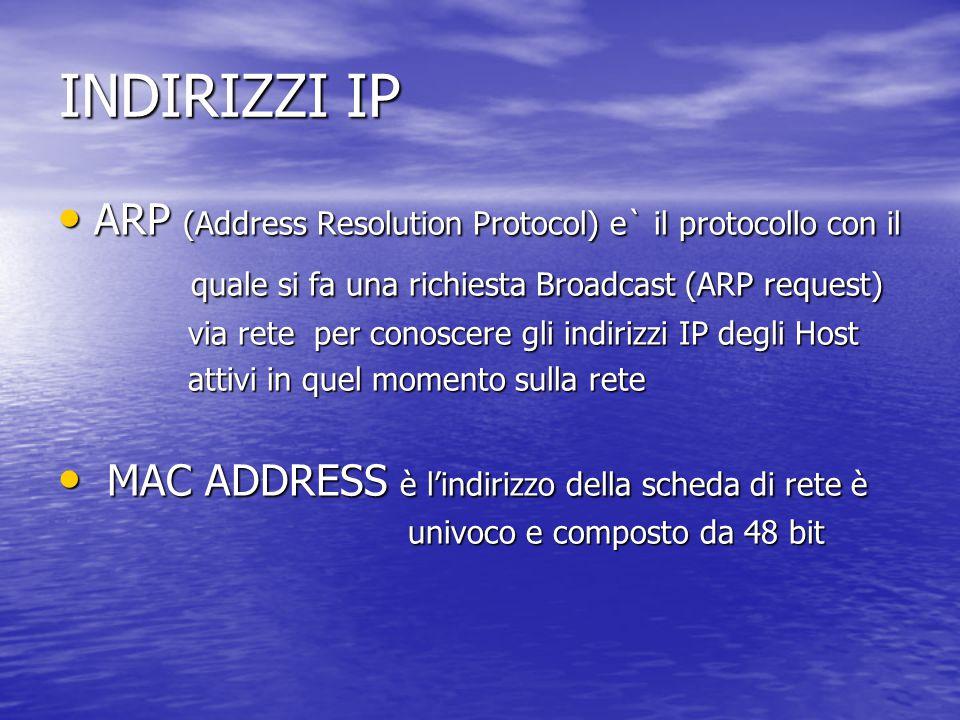 INDIRIZZI IP ARP (Address Resolution Protocol) e` il protocollo con il