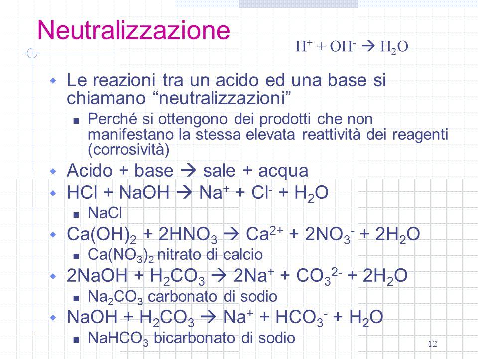 Neutralizzazione H+ + OH-  H2O. Le reazioni tra un acido ed una base si chiamano neutralizzazioni