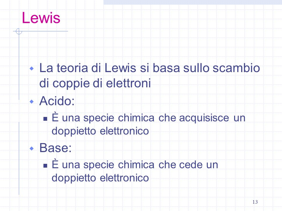 Lewis La teoria di Lewis si basa sullo scambio di coppie di elettroni
