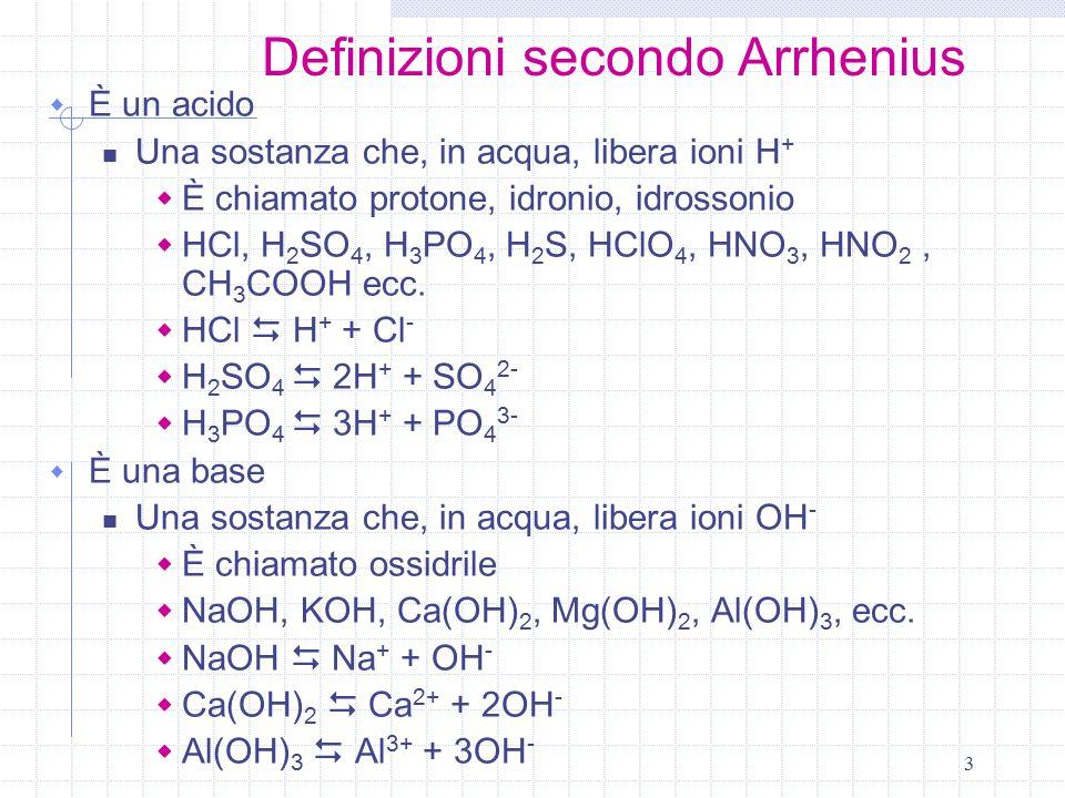 Definizioni secondo Arrhenius