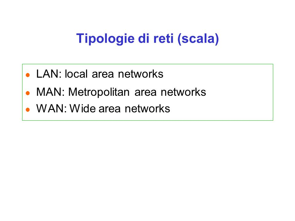 Tipologie di reti (scala)