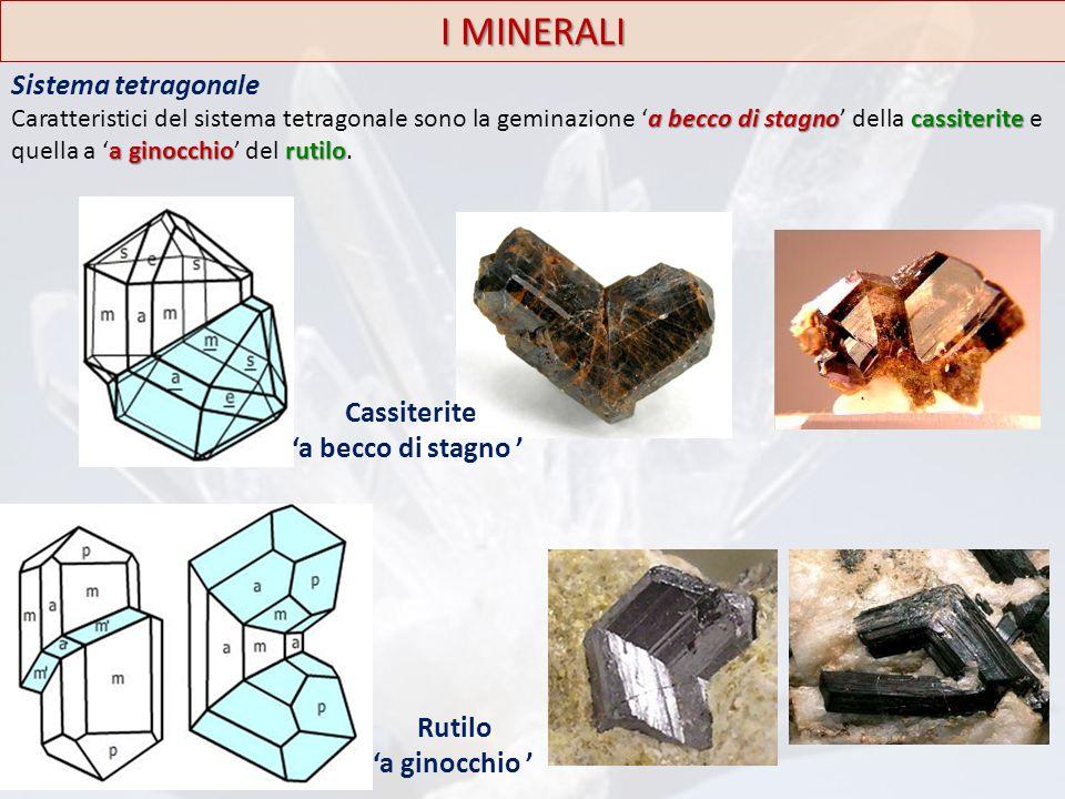 I MINERALI Sistema tetragonale Cassiterite 'a becco di stagno ' Rutilo