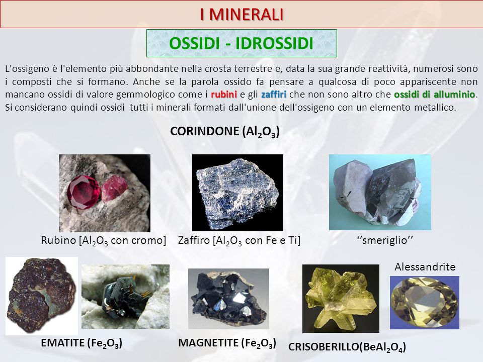 I MINERALI OSSIDI - IDROSSIDI CORINDONE (Al2O3)