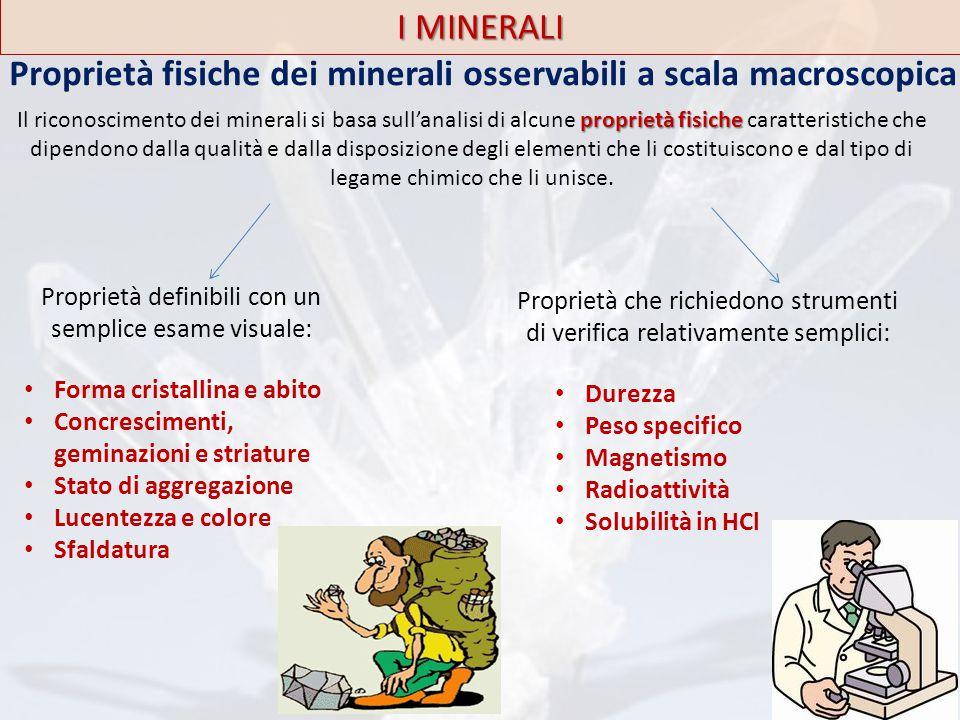 Proprietà fisiche dei minerali osservabili a scala macroscopica