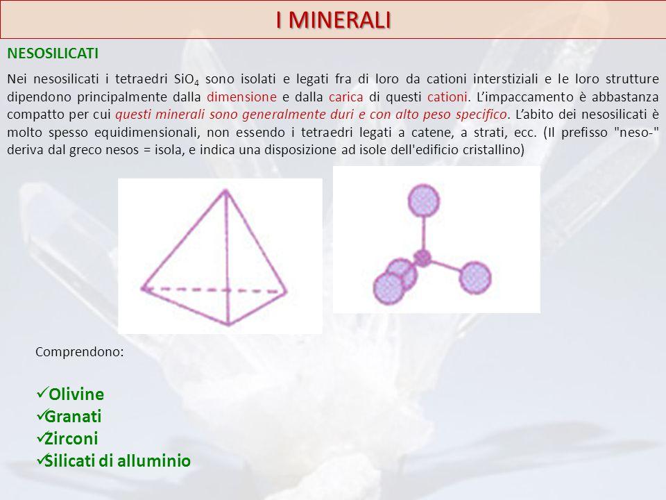 I MINERALI Olivine Granati Zirconi Silicati di alluminio NESOSILICATI