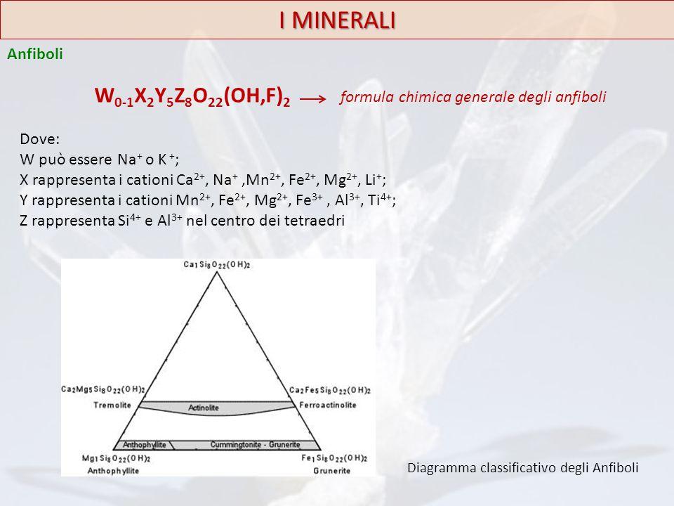 I MINERALI Anfiboli. W0-1X2Y5Z8O22(OH,F)2 formula chimica generale degli anfiboli. Dove: