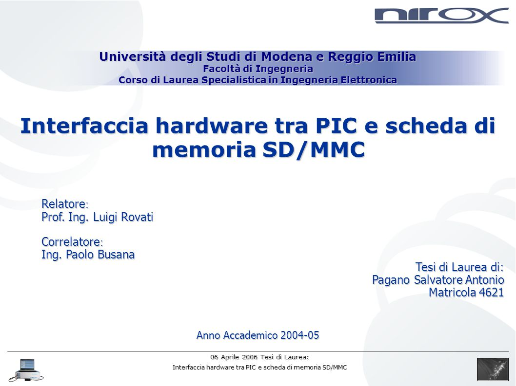 Interfaccia hardware tra PIC e scheda di memoria SD/MMC