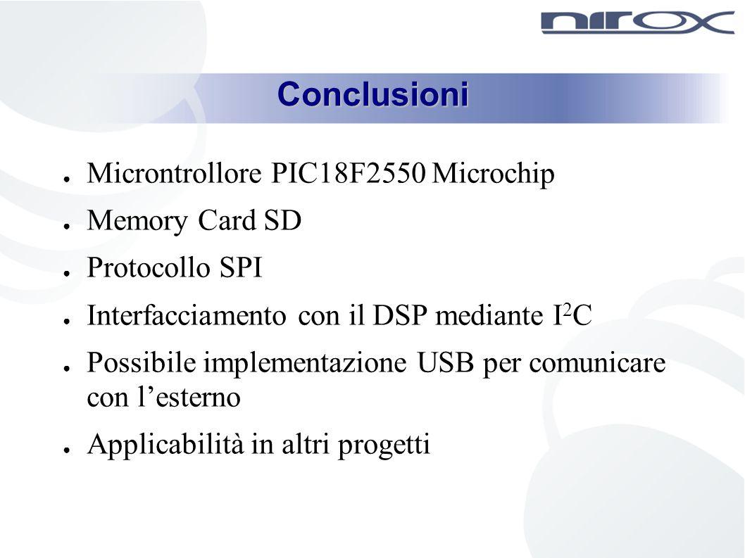 Conclusioni Microntrollore PIC18F2550 Microchip Memory Card SD