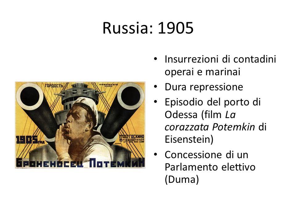 Russia: 1905 Insurrezioni di contadini operai e marinai