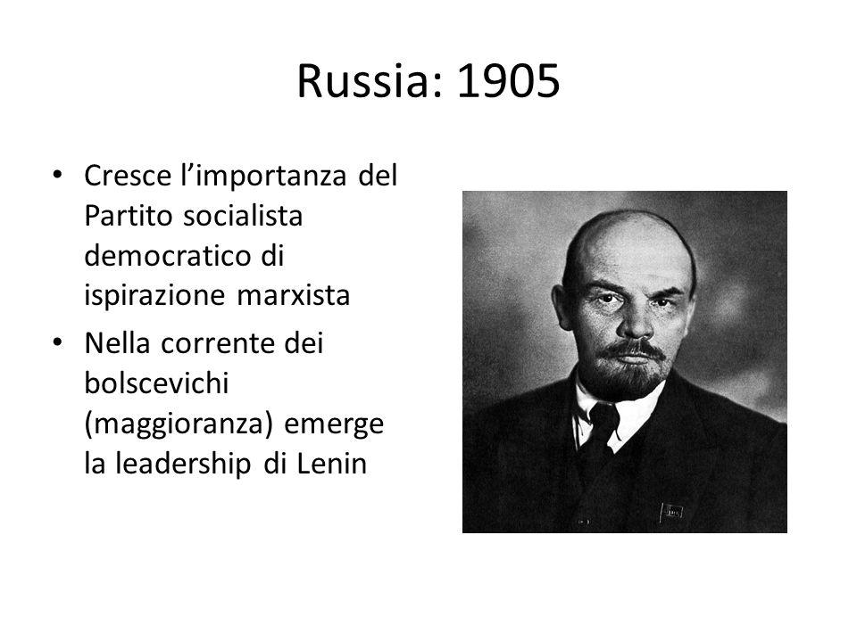 Russia: 1905 Cresce l'importanza del Partito socialista democratico di ispirazione marxista.