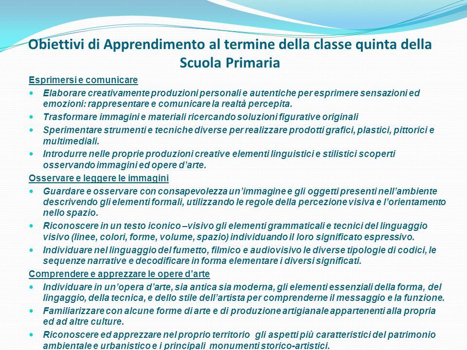 Obiettivi di Apprendimento al termine della classe quinta della Scuola Primaria