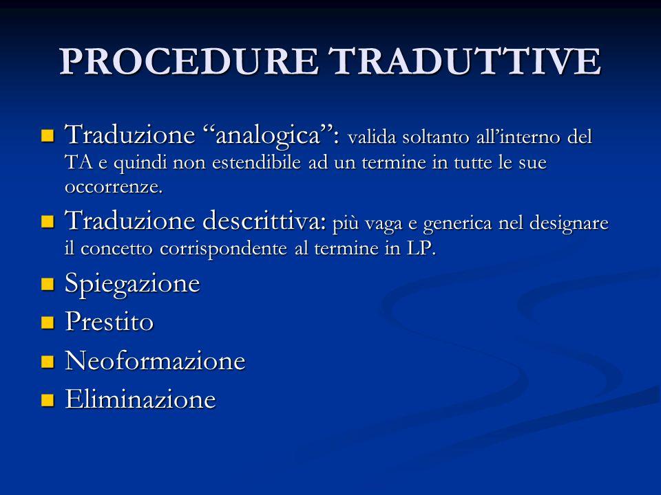 PROCEDURE TRADUTTIVE Traduzione analogica : valida soltanto all'interno del TA e quindi non estendibile ad un termine in tutte le sue occorrenze.