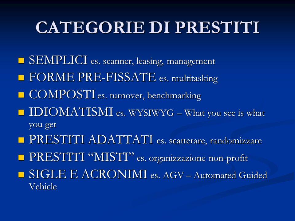 CATEGORIE DI PRESTITI SEMPLICI es. scanner, leasing, management