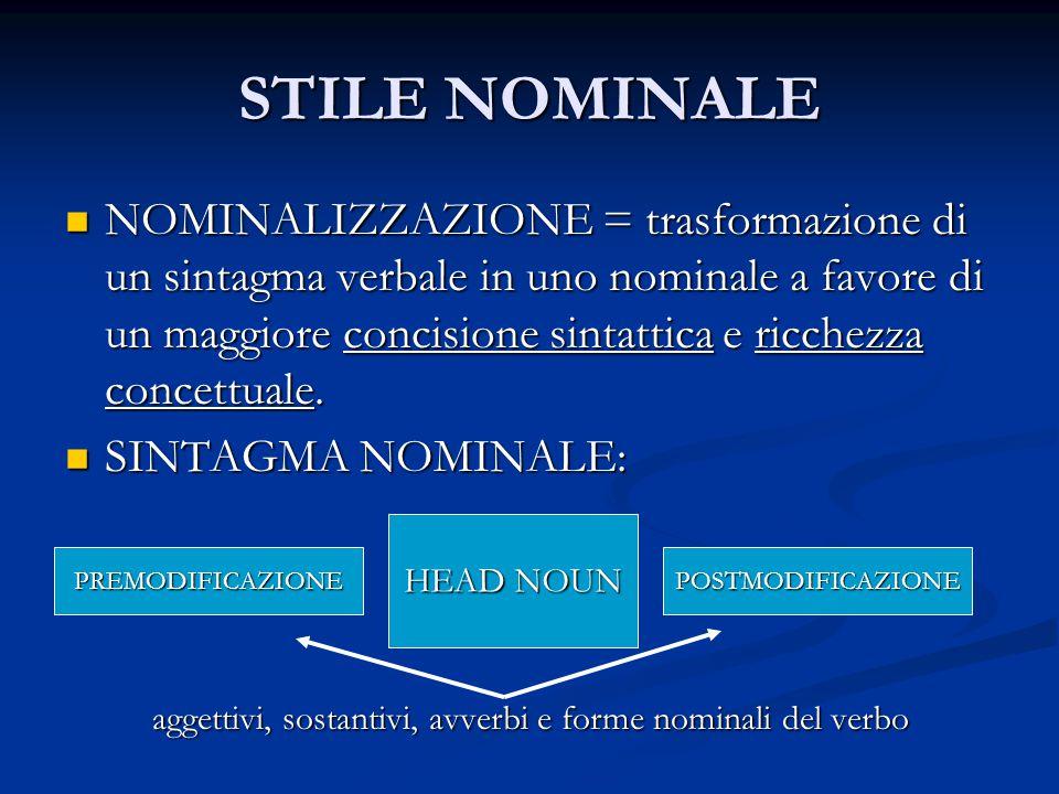 aggettivi, sostantivi, avverbi e forme nominali del verbo