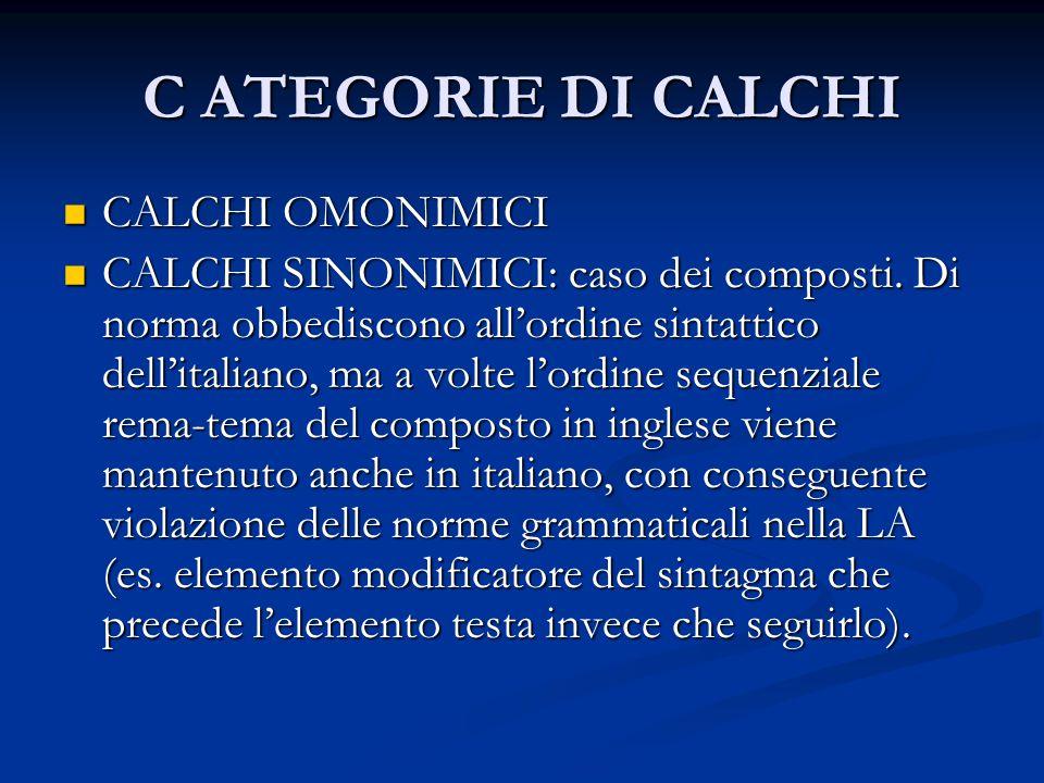 C ATEGORIE DI CALCHI CALCHI OMONIMICI