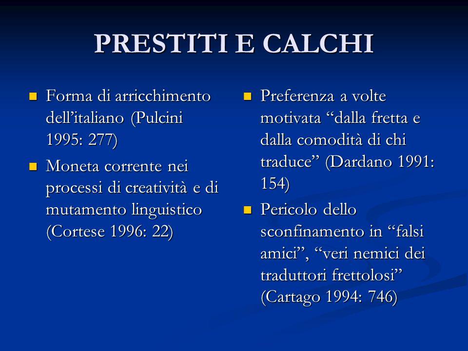 PRESTITI E CALCHI Forma di arricchimento dell'italiano (Pulcini 1995: 277)