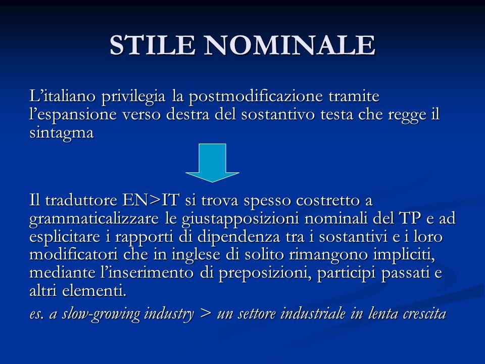 STILE NOMINALE L'italiano privilegia la postmodificazione tramite l'espansione verso destra del sostantivo testa che regge il sintagma.