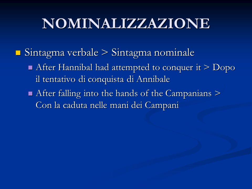 NOMINALIZZAZIONE Sintagma verbale > Sintagma nominale