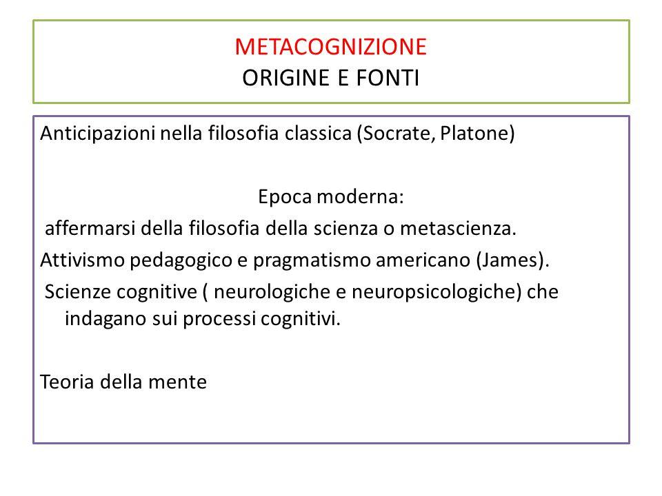 METACOGNIZIONE ORIGINE E FONTI