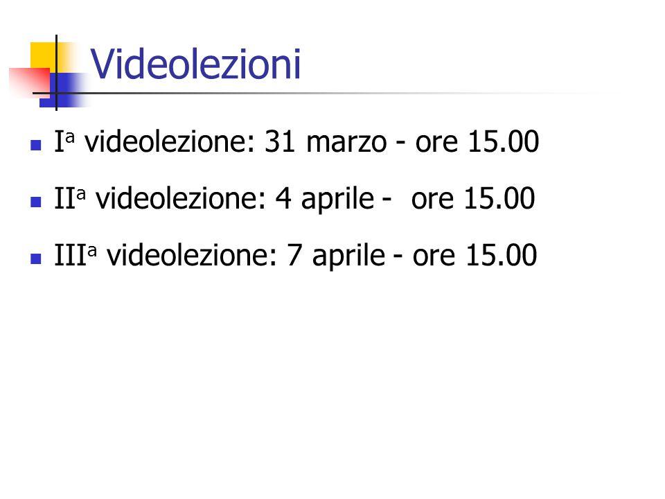 Videolezioni Ia videolezione: 31 marzo - ore 15.00