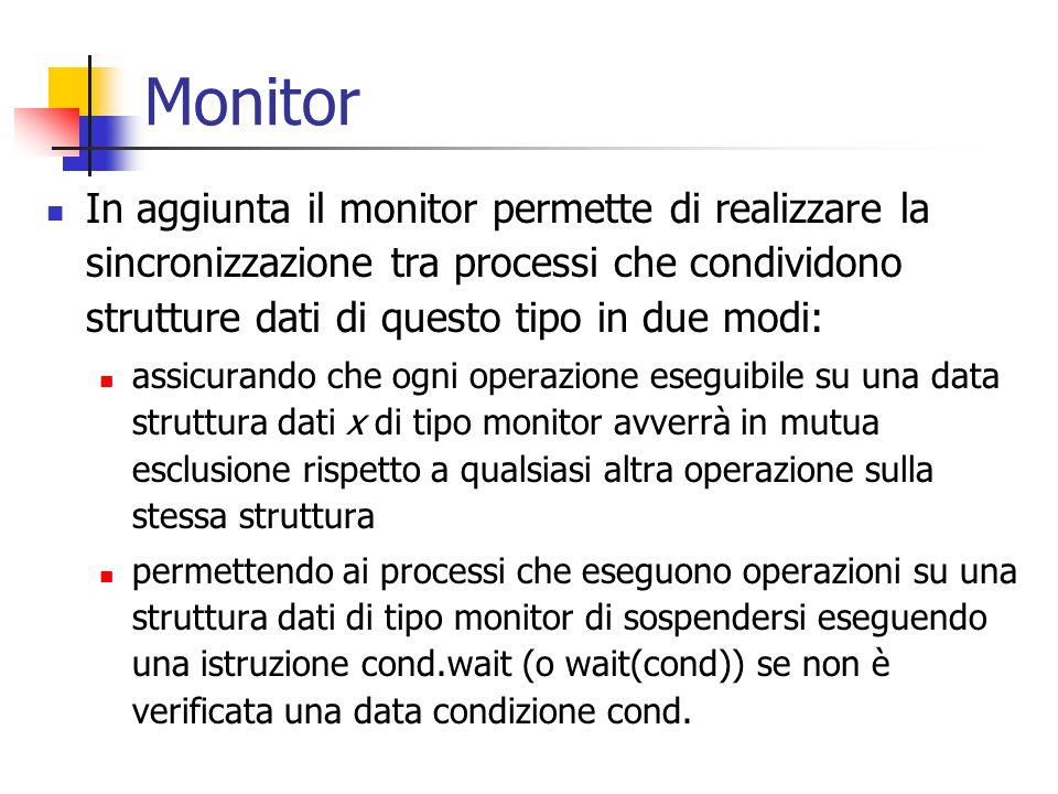 Monitor In aggiunta il monitor permette di realizzare la sincronizzazione tra processi che condividono strutture dati di questo tipo in due modi: