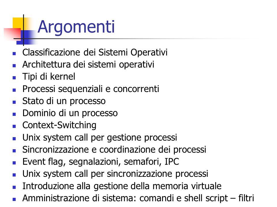 Argomenti Classificazione dei Sistemi Operativi