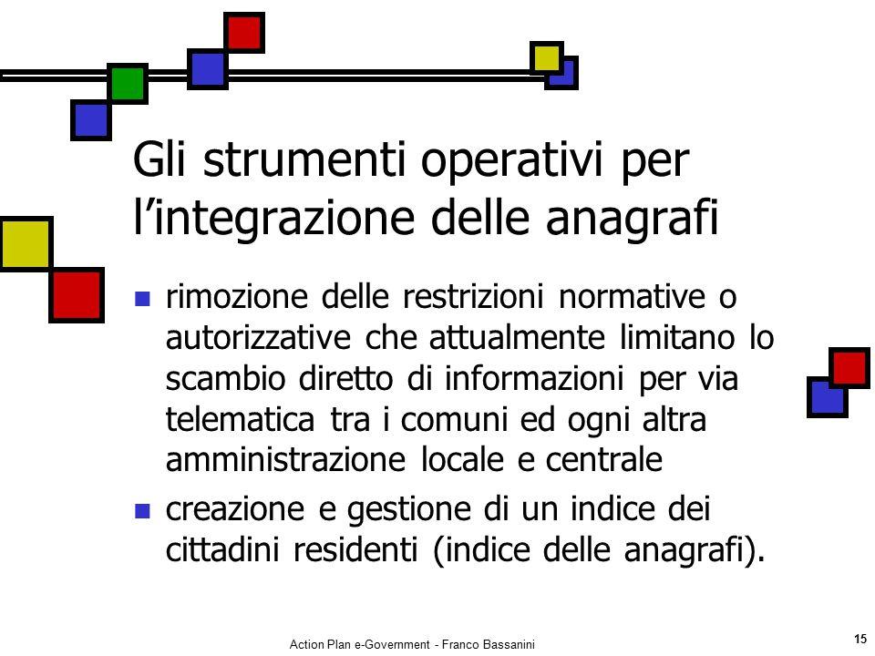 Gli strumenti operativi per l'integrazione delle anagrafi
