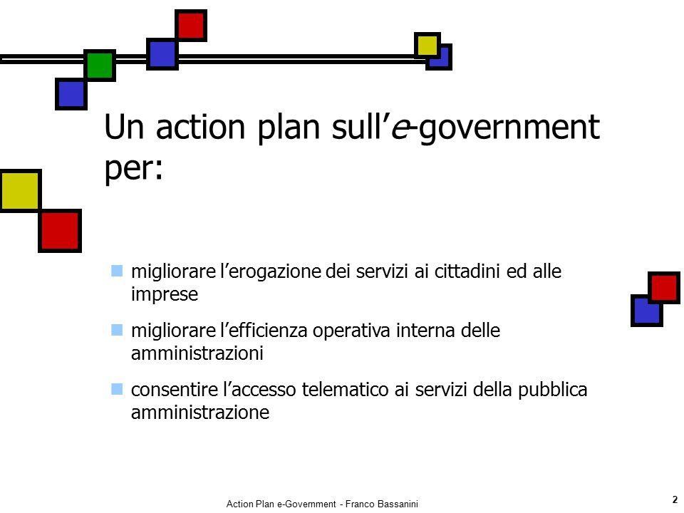 Un action plan sull'e-government per: