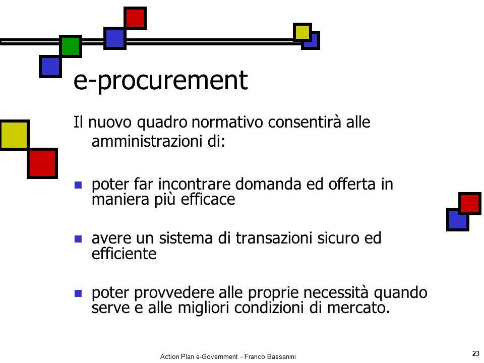 Action Plan e-Government - Franco Bassanini