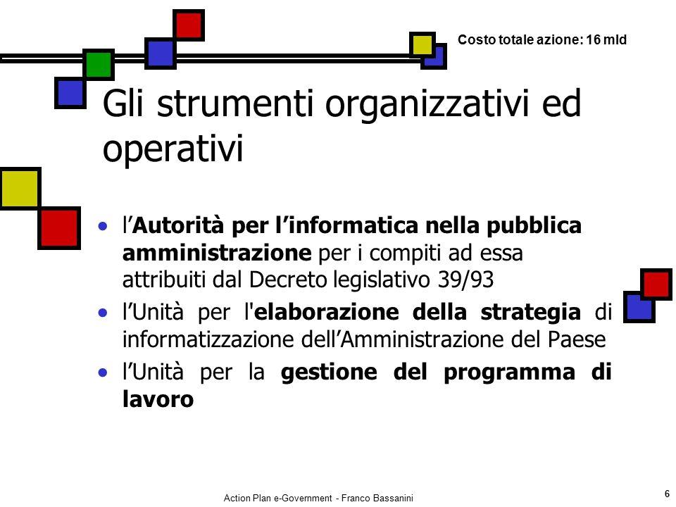 Gli strumenti organizzativi ed operativi
