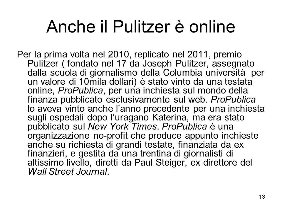 Anche il Pulitzer è online