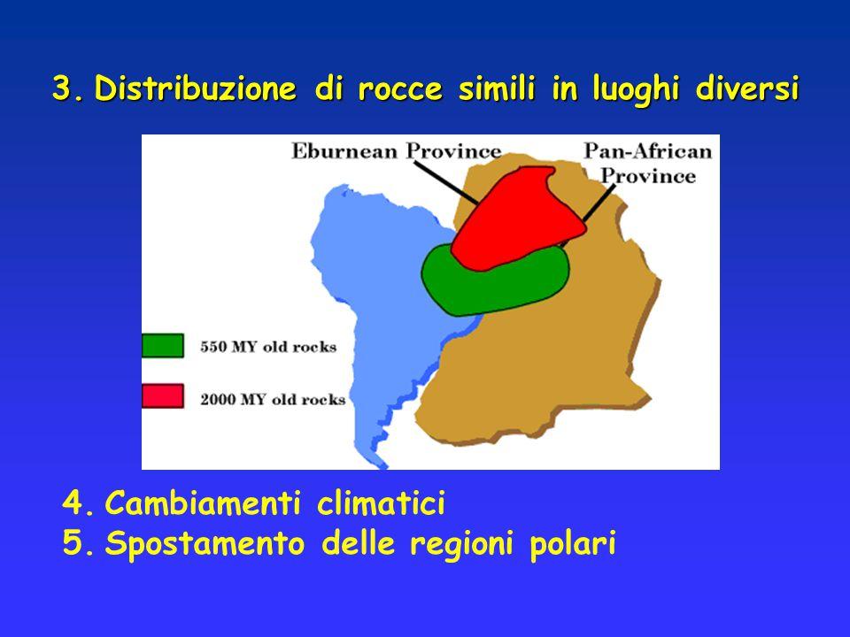 Distribuzione di rocce simili in luoghi diversi