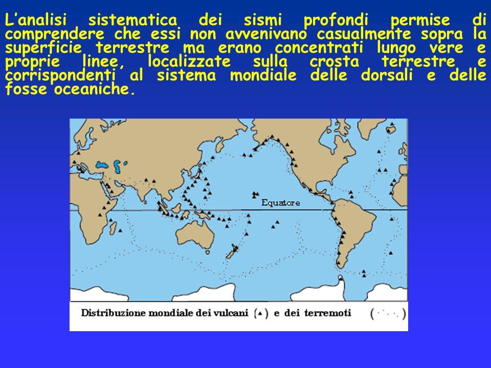 L'analisi sistematica dei sismi profondi permise di comprendere che essi non avvenivano casualmente sopra la superficie terrestre ma erano concentrati lungo vere e proprie linee, localizzate sulla crosta terrestre e corrispondenti al sistema mondiale delle dorsali e delle fosse oceaniche.
