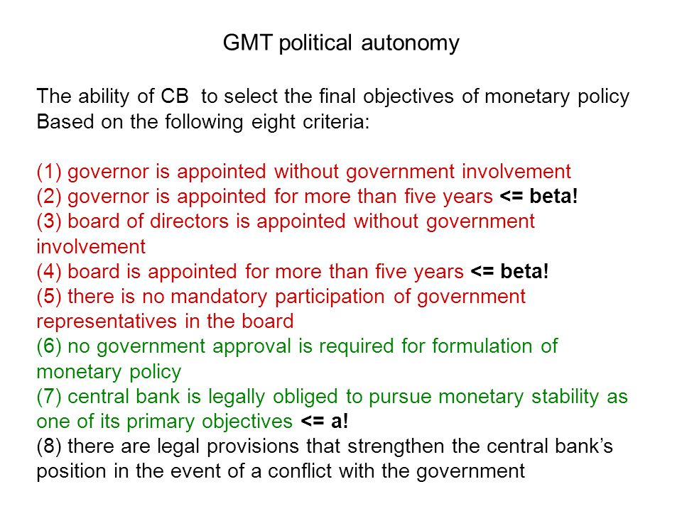 GMT political autonomy
